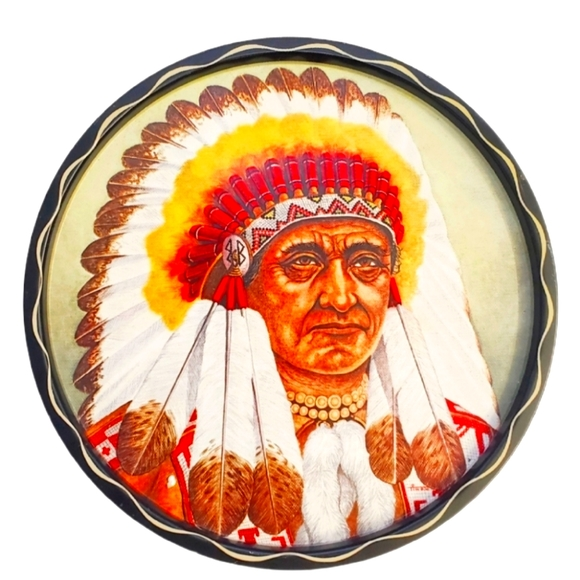 #BD Native American Vintage Tray Wall Art Decor